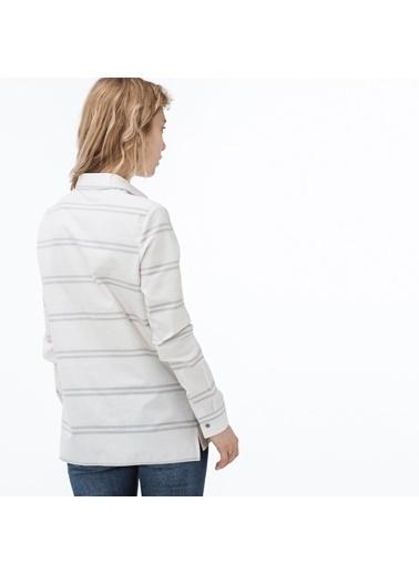 Lacoste Kadın Çizgili Gömlek CF0904.04G Beyaz